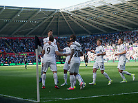 Football - 2016 / 2017 Premier League - Swansea City vs. West Bromwich Albion<br /> <br /> Fernando Llorente of Swansea celebrates scoring his team's second goal with Swansea City manager Paul Clement, at Liberty Stadium.<br /> <br /> COLORSPORT/WINSTON BYNORTH