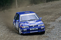 Mobil 1/RAC British Rally Championship 1997. RSAC Scottish Rally. Mark Higgins / Philip Mills. Nissan Motorsports Europe (NL). Nissan Sunny GTi. World Copyright: Peter Taylor/PSP. Copy of publication required for printed pictures. Every used picture is fee-liable..