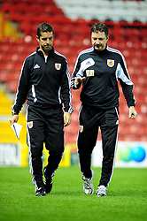 Willie McStay and Bristol City U21's Manger Alex Russell - Photo mandatory by-line: Dougie Allward/Josephmeredith.com  - Tel: Mobile:07966 386802 04/09/2012 - SPORT - FOOTBALL - Professional Development League -  Bristol  - Ashton Gate -  Bristol City U21s v Brentford U21s