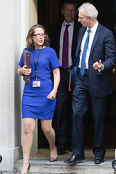 Downing Street, London, September 13th 2016. Lord Privy Seal and Leader of the House of Lords Baroness Natalie Evans and Leader of the House of Commons David Lidington leave the weekly cabinet meeting at Downing Street.