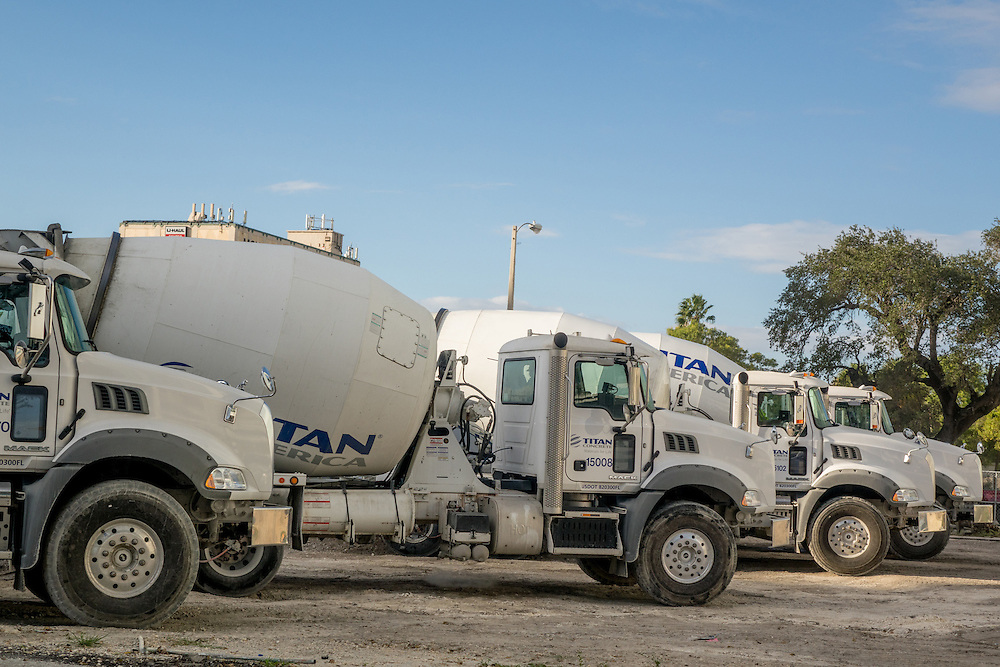 MIAMI,  FLORIDA--- NOVEMBER 3, 2015: <br /> Cement trucks on the grounds of what will become Paramount Miami Worldcenter in downtown Miami. The 60 story condo tower with 470 residences will sit atop the the Miami Worldcenter Mall. (Photo by Angel Valentin)