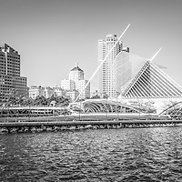 Milwaukee skyline photo in black and white. Picture includes the Milwaukee Art Museum, University Club Tower, and Northwestern Mutual Tower, Milwaukee lakefront. Photo is high resolution.
