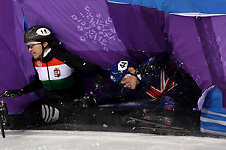 Great Britain's Charlotte Gilmartin crashes with Hungary's Petra Jaszapati in the Women's 500m Short Track heat eight during day one of the PyeongChang 2018 Winter Olympic Games in South Korea.