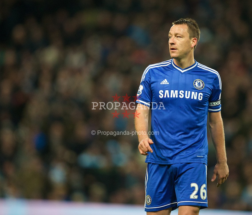 MANCHESTER, ENGLAND - Monday, February 3, 2014: Chelsea's captain John Terry in action against Manchester City during the Premiership match at the City of Manchester Stadium. (Pic by David Rawcliffe/Propaganda)