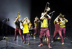 Perhaps Contraption, a progressive brass band, perform their theatical debut Nearly Human at the Pleasance, Edinburgh. Pic copyright: Terry Murden @edinburghelitemedia