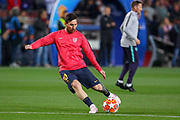 Barcelona forward Lionel Messi (10) warm up shot during the Champions League quarter-final leg 2 of 2 match between Barcelona and Manchester United at Camp Nou, Barcelona, Spain on 16 April 2019.