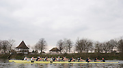 Putney; GREAT BRITAIN; Both crews racing along Dukes meadows, Bandstand in the background, 2009 Boat Race; Oxford [OUBC] vs University of Washington, [Huskies], raced over the 'Championship Course' Putney to Mortlake; on the River Thames; Sun 01.03.2009. [Mandatory Credit; Peter Spurrier / Intersport-images. Rowing Course: River Thames; Championship course; Putney to Mortlake 4.25 Miles Varsity, Pre Boat Race Fixture.