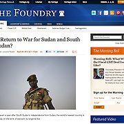 "Screengrab of ""South Sudan at war"" published in Heritage Foundation"