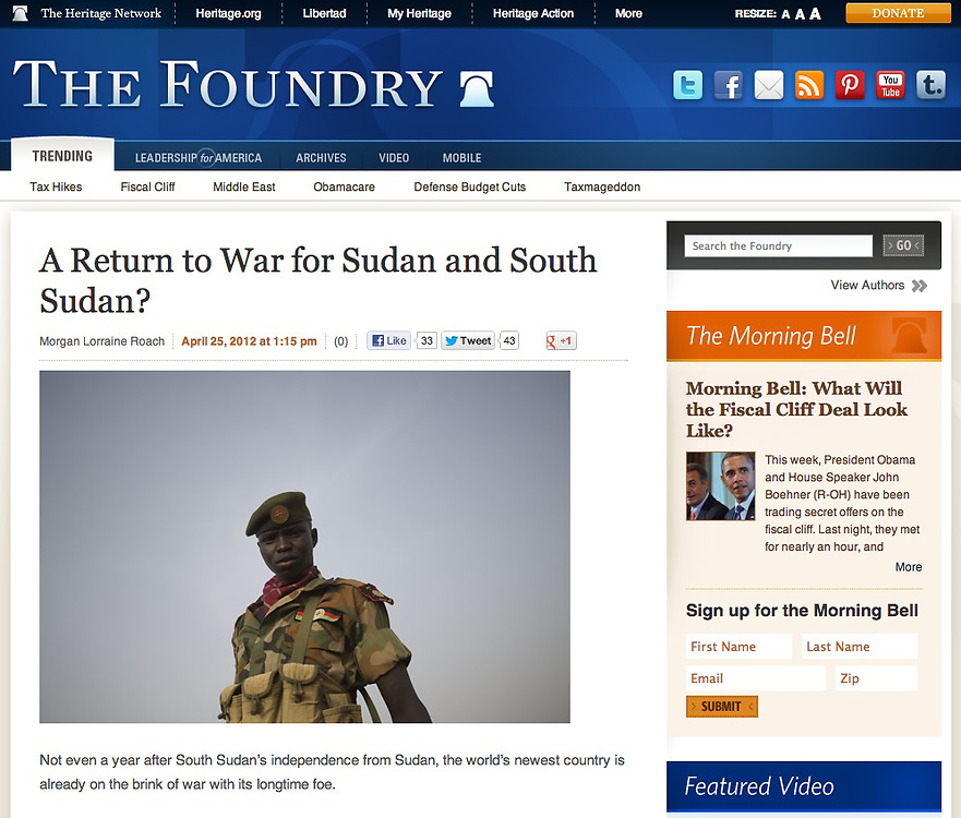 """Screengrab of """"South Sudan at war"""" published in Heritage Foundation"""