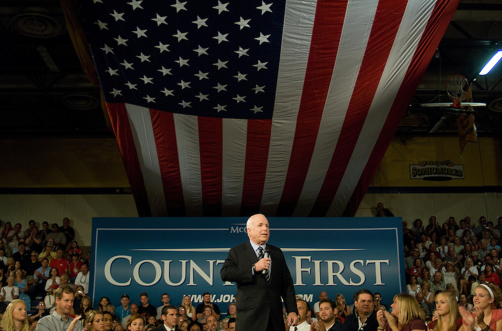 Republican Presidential candidate, Sen. John McCain, R-Ariz. speaks at a town hall meeting at Reed High School in Sparks, Nev., Tuesday morning, July 29, 2008...Photo by David Calvert/Bloomberg News