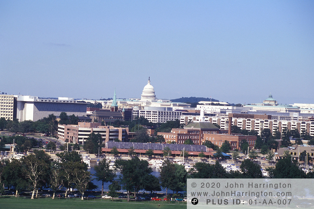 A view from a distance of the US Capitol.