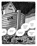 Carping Criticism of UN. (Members of the United Nations squabbling while the flood waters rise around them and the the UN floats as Noah's Ark)