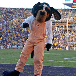 Oct 2, 2010; Baton Rouge, LA, USA; The Tennessee Volunteers mascot celebrates following a touchdown during the second half against the LSU Tigers at Tiger Stadium. LSU defeated Tennessee 16-14.  Mandatory Credit: Derick E. Hingle