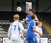 Lyall Murdoch heads home St James' first goal - St James (blue) v NCR (white) North of Tay Cup (sponsored by Evening Telegraph) Cup Final at Dens Park <br /> <br />  - &copy; David Young - www.davidyoungphoto.co.uk - email: davidyoungphoto@gmail.com