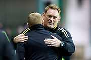 Livingston manager David Hopkin embraces Hibernian manager Neil Lennon during the Betfred Scottish Cup match between Hibernian and Livingston at Easter Road, Edinburgh, Scotland on 19 September 2017. Photo by Craig Doyle.