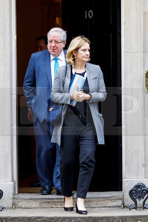 © Licensed to London News Pictures. 21/02/2017. London, UK. Conservative party chairman PATRICK MCLOUGHLIN and Home Secretary AMBER RUDD leave a cabinet meeting in Downing Street, London on Tuesday, 21 February  2017. Photo credit: Tolga Akmen/LNP