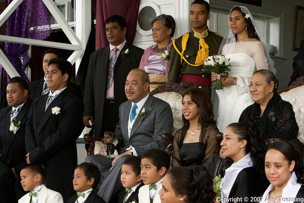 NUKU'ALOFA, TONGA - MAY 3: The Tongan royal family poses for formal portraits at the king's palace after the wedding ceremony of the king's niece, the Honorable Titilupe Fanetupouvava'u Tuita to Second Lieutenant Siaosi Kiu Tau Ki Vailahi Kaho on May 3, 2007 in Nuku'alofa, Tonga. Tonga is one of the last surviving monarchies in the Pacific islands, however there has been a recent push towards democratic reform, challenging the people of Tonga to maintain their cultural heritage while conforming to modern day capitalism. (Photo by Amy Toensing/ Reportage by Getty Images) _________________________________<br />