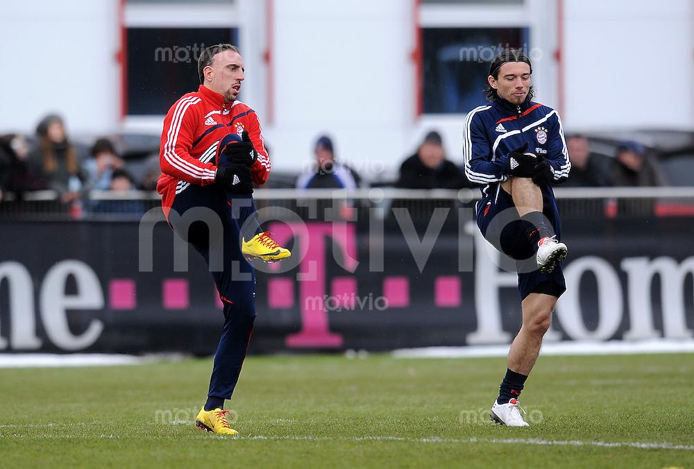 Fussball 1. Bundesliga :  Saison   2009/2010   03.02.2010 Training beim FC Bayern Muenchen Franck Ribery mit Ivica Olic  (v.li., FCB)