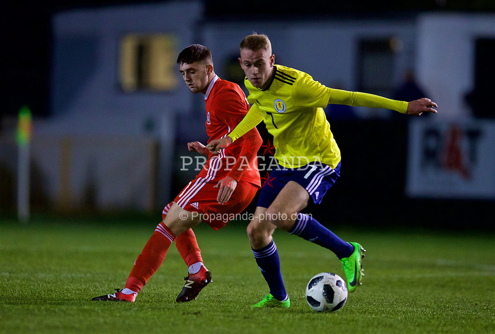RHYL, WALES - Wednesday, November 14, 2018: Wales' Joseph Adams and Scotland's Zak Rudden during the UEFA Under-19 Championship 2019 Qualifying Group 4 match between Wales and Scotland at Belle Vue. (Pic by Paul Greenwood/Propaganda)