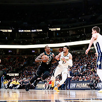 01 April 2018: Milwaukee Bucks guard Eric Bledsoe (6) drives past Denver Nuggets guard Jamal Murray (27) during the Denver Nuggets 128-125 victory over the Milwaukee Bucks, at the Pepsi Center, Denver, Colorado, USA.