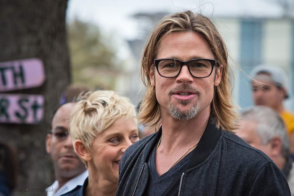 "Brad Pitt on a walking tour through the "" Make it Right "" houses in New Orleans Lower 9th Ward the day before a star-studded gala being held in New Orleans."