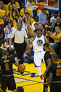 Golden State Warriors forward Andre Iguodala (9) dunks over the Cleveland Cavaliers during Game 2 of the NBA Finals at Oracle Arena in Oakland, Calif., on June 4, 2017. (Stan Olszewski/Special to S.F. Examiner)