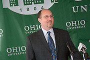 4/28/06...Contact: Director of Media Relations Jack Jeffery at 740-597-1793 or jefferyj@ohio.edu, or Media Relations Coordinator Jessica Stark at 740-597-2938 or starkj@ohio.edu..OHIO UNIVERSITY NAMES CHARLES MCWEENY.DEAN OF COLLEGE OF FINE ARTS..ATHENS, Ohio ? Charles A. McWeeny has been named dean of the College of Fine Arts at Ohio University, effective May 1, 2006, President Roderick J. McDavis announced today. McWeeny was named interim dean of the college in August 2005...?Following an extensive national search, we recognized that Chuck was the best person to serve as dean of the College of Fine Arts. During his time as interim dean, Chuck has been a strong advocate for the mission and vision of the College of Fine Arts and Ohio University,? President McDavis said. ?Under his leadership, he has sought support for creative research through the allocation of Vision OHIO implementation funds, focused on African Arts by establishing a new faculty position in that area, and taken steps to increase annual planned giving to the college.? ..McWeeny, who served as associate dean for the college for four years before being named interim dean, will oversee the six fine and performing arts schools in the college: the schools of art, dance, film, music, theater and interdisciplinary arts. He succeeds Raymond Tymas-Jones, who accepted the position as associate vice president for the arts and dean of the College of Fine Arts at the University of Utah...?As interim dean, Chuck helped advance the mission of the college. He helped create the Aesthetics Technology Lab (also known as the @Lab), a model for graduate and faculty creative research at the intersection of art and technology,? Provost Kathy Krendl said. ?Along with his colleagues he helped guide the development of the college's ceramic program into one of the top five in the country.?.. ?I am thrilled to have the opportunity to continue to work with the talented students, faculty and staff in the College of Fine Arts,?