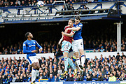 Burnley defednder Stephen Ward (23) and Everton defender Michael Keane (4) during the Premier League match between Everton and Burnley at Goodison Park, Liverpool, England on 1 October 2017. Photo by Craig Galloway.