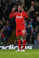 Raheem Sterling of Liverpool shows his dissapointment after losing the ball during the Capital One Cup Semi Final 2nd Leg match between Chelsea and Liverpool at Stamford Bridge, London, England on 27 January 2015. Photo by David Horn.