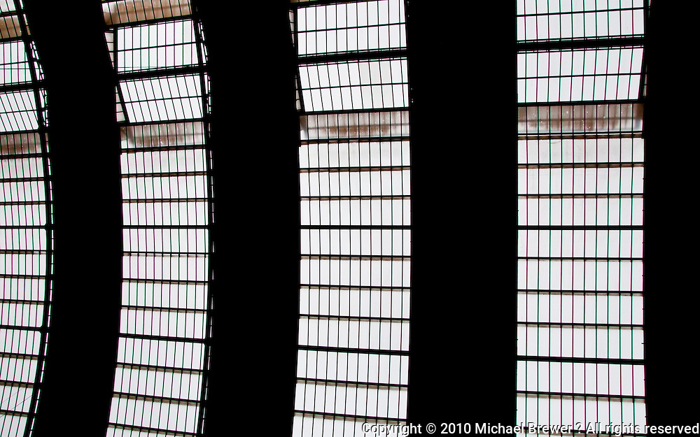Milan, Italy. Close-up  of the domed glass roof of Milan train station.