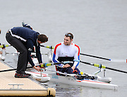 Caversham, GREAT BRITAIN,   GB, Men's,  left, coach Chad KING [Chief Coach, GB Rowing Adaptive Squard] [Chief Coach, GB Rowing Adaptive Squard] and M1X, Tom AGGAR, GBR AM1X,, GB Rowing,  Adaptive Rowing Media Day [athletes training for the Beijing Paralympics] [Mandatory Credit, Peter Spurrier / Intersport-images Rowing course: GB Rowing Training Complex, Redgrave Pinsent Lake, Caversham, Reading