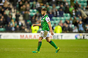 Darren McGregor (#24) of Hibernian FC walks off after being show a red card during the Ladbrokes Scottish Premiership match between Hibernian and Rangers at Easter Road, Edinburgh, Scotland on 8 March 2019.