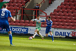 WREXHAM, WALES - Monday, May 2, 2016: The New Saints' Adrian Cieslewicz and Airbus UK Broughton's Lee Owens during the 129th Welsh Cup Final at the Racecourse Ground. (Pic by David Rawcliffe/Propaganda)