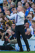 Sean Dyche, Manager of Burnley FC during the Premier League match between Brighton and Hove Albion and Burnley at the American Express Community Stadium, Brighton and Hove, England on 14 September 2019.