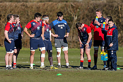 John Hawkins of Bristol Rugby (C) looks on as he joins in with an England U20 session at Bristol Rugby's training facility ahead of the U20 Six Nations match versus Wales - Mandatory byline: Rogan Thomson/JMP - 08/03/2016 - RUGBY UNION - Clifton Rugby Club - Bristol, England - England Under 20s Training at Bristol Rugby.