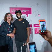 JULY 19, 2018---MIAMI, FLORIDA---<br /> Posing with Cynthia Smith (Cooper-Hewitt, Smithsonian Design Museum, Curator of By the People: Designing a Better America), after a lecture in Miami Dade College's Freedom Tower Museum.<br /> (Photo by Angel Valentin/Freelance)