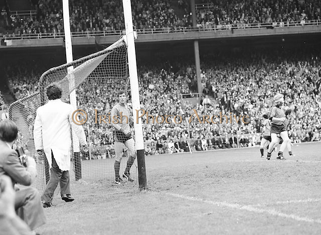 The Kerry goalie looks disappointed after Dublin scored a goal during the Kerry v Dublin All Ireland Senior Gaelic Football Final in Croke Park on the 24th of September 1978. Kerry 5-11 Dublin 0-9.
