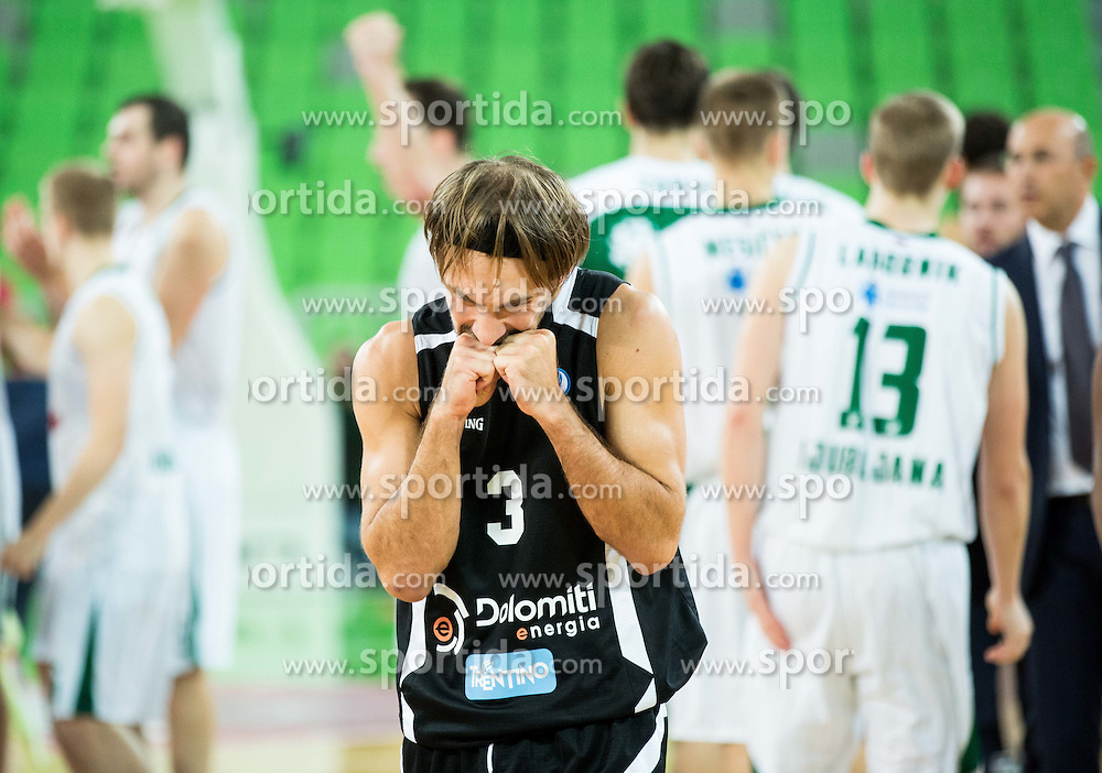 Giuseppe Poeta of Trento reacts after the basketball match between KK Union Olimpija Ljubljana and Dolomiti Energia Trento (ITA) in Round #1 of EuroCup 2015/16, on October 14, 2015 in Arena Stozice, Ljubljana, Slovenia. Photo by Vid Ponikvar / Sportida