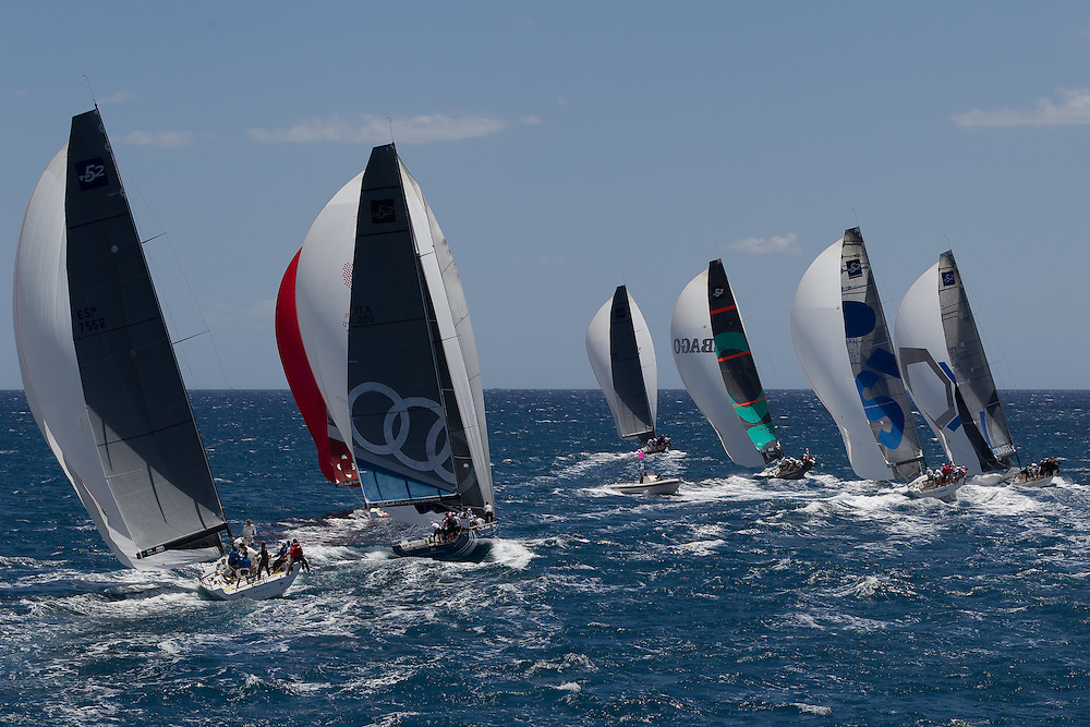 ITALY, Sardinia, Cagliari. 20th July 2011. AUDI MedCup.  Region of Sardinia Trophy. TP52 fleet sail downwind.