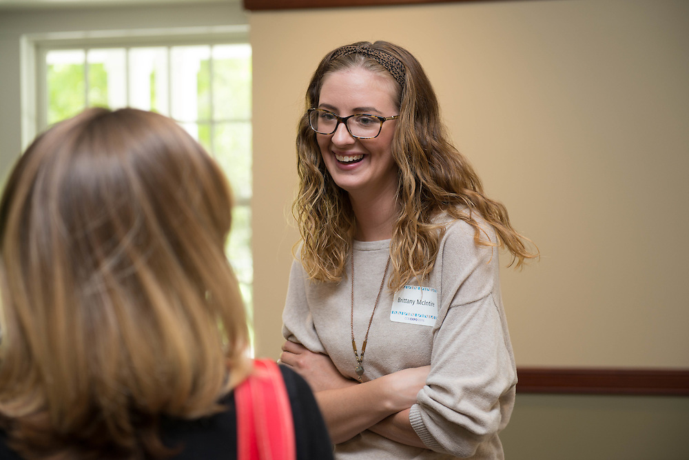 Brittany McIntire, Interim Associate Director of Event Management for the Office of Student Affairs, at the Campus Communicator Network Expo in Nelson Commons on Wednesday, May 11, 2016. © Ohio University / Photo by Kaitlin Owens