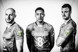 10-05-2017 NED: Selectie Nederlands volleybal team mannen 2017, Arnhem<br /> Op Papendal werd de selectie gepresenteerd / Jasper Diefenbach #6, Fabian Plak #8, Jeroen Rauwerdink #10