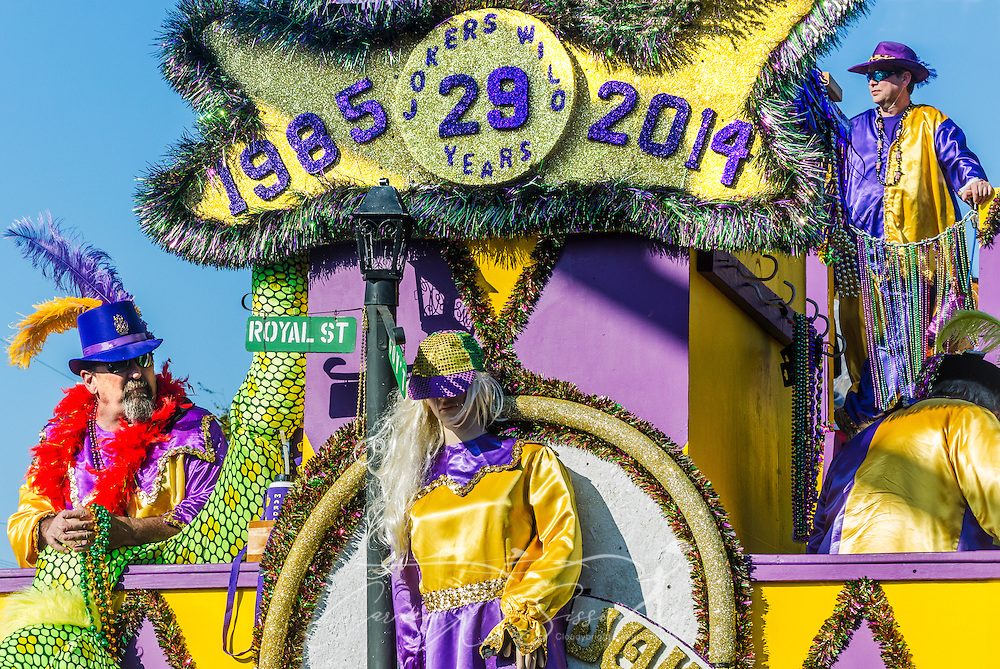 The Jokers Wild float travels down Canal Street in downtown Mobile, Ala., during the Joe Cain Procession at Mardi Gras, March 2, 2014. French settlers held the first Mardi Gras in 1703, making Mobile's celebration the oldest Mardi Gras in the United States. (Photo by Carmen K. Sisson/Cloudybright)