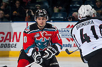 KELOWNA, CANADA - NOVEMBER 11: Nick Merkley #10 of Kelowna Rockets skates against the Vancouver Giants on November 11, 2015 at Prospera Place in Kelowna, British Columbia, Canada.  (Photo by Marissa Baecker/ShoottheBreeze)  *** Local Caption *** Nick Merkley;
