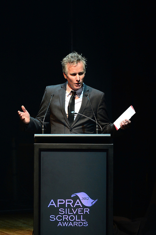 Anthony Healey on stage at the APRA Silver Scrolls Awards 2012. Auckland Town Hall. 13 September 2012.