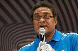 "Portugal's football legend Eusebio at a press conference themed ""Adidas Golden Boot Day"" during FIFA World Cup 2010 on July 1, 2010 at the adidas Jo'bulani Centre in Sandton Convention Centre in Johannesburg. (Photo by Vid Ponikvar / Sportida)"