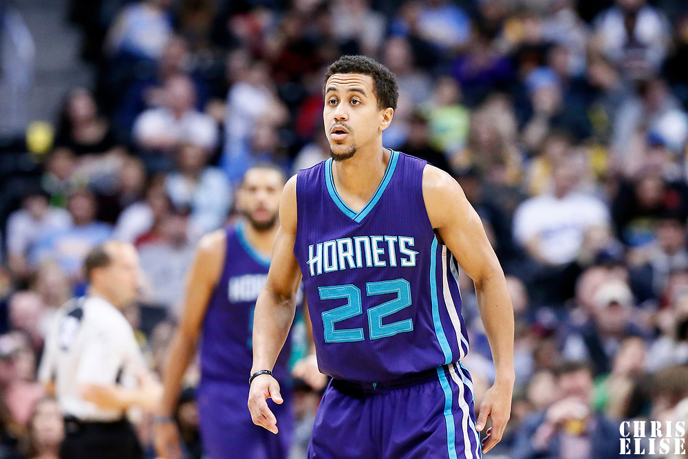 04 March 2017: Charlotte Hornets guard Brian Roberts (22) is seen on defense during the Charlotte Hornets 112-102 victory over the Denver Nuggets, at the Pepsi Center, Denver, Colorado, USA.