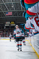 KELOWNA, CANADA - DECEMBER 30: Kyle Topping #24 of the Kelowna Rockets skates past the bench to celebrate a second period goal against the Victoria Royals on December 30, 2017 at Prospera Place in Kelowna, British Columbia, Canada.  (Photo by Marissa Baecker/Shoot the Breeze)  *** Local Caption ***