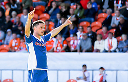Ian Henderson of Rochdale celebrates after scoring his sides second goal   - Mandatory byline: Matt McNulty/JMP - 07966386802 - 15/08/2015 - FOOTBALL - Bloomfield Road -Blackpool,England - Blackpool v Rochdale AFC - Sky Bet League One