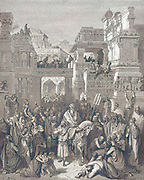Machine Colourized (AI) Triumph of Mordecai [Esther 6:11] From the book 'Bible Gallery' Illustrated by Gustave Dore with Memoir of Dore and Descriptive Letter-press by Talbot W. Chambers D.D. Published by Cassell & Company Limited in London and simultaneously by Mame in Tours, France in 1866