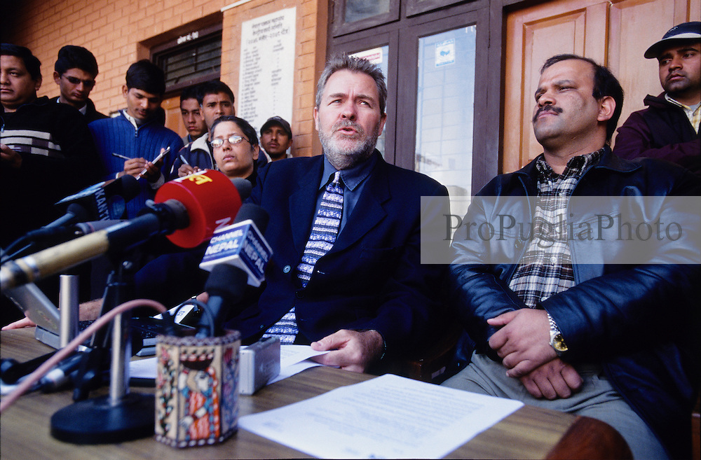"Christopher Warren, President of the International Federation of Journalists (IFJ), with Tara Nath Dahal (on the right), President of the Federation of Nepalese Journalists (FNJ) addressing a press conference at the FNJ' s head office in Kathmandu. Talking about the media restrictions imposed by the King Gyanendra, Mr Warren says: ""The King's action is not just wrong in principle but also in strategy""."